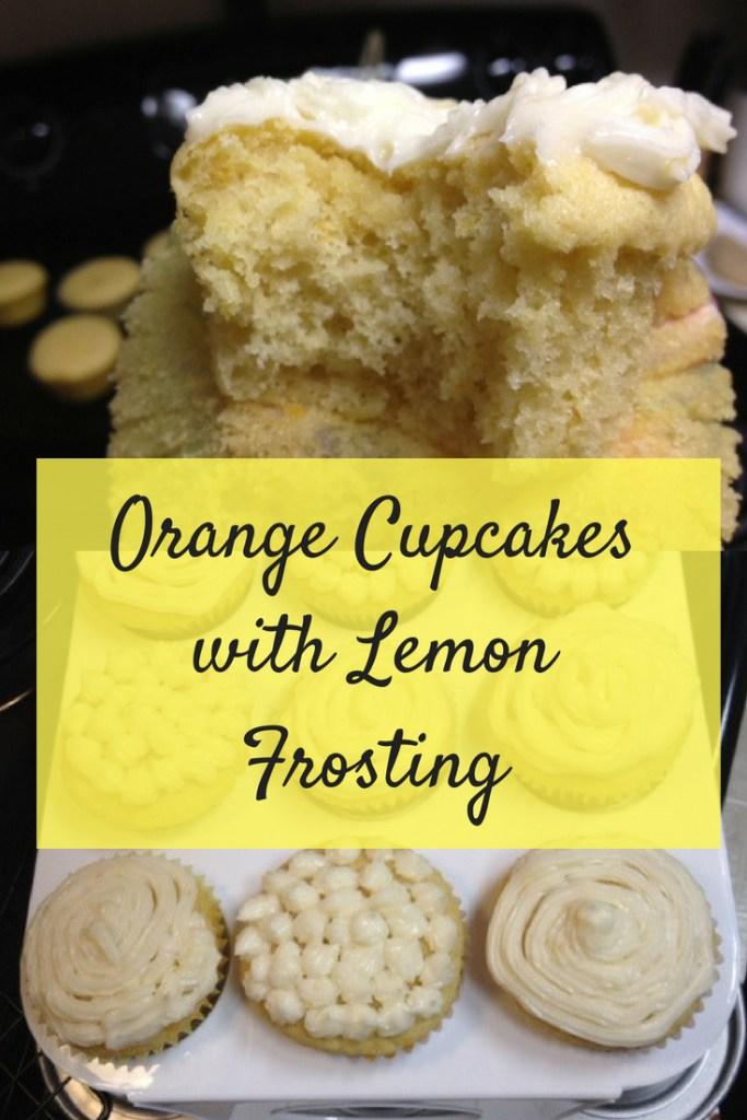 Orange Cupcakes with Lemon Frosting pinterest image