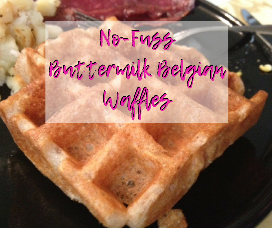 These easy no-fuss Belgian buttermilk waffles are a staple in my house, perfect for brunch any day! No egg white whipping required, you can make in 15 minutes. #waffles #recipe #brunch