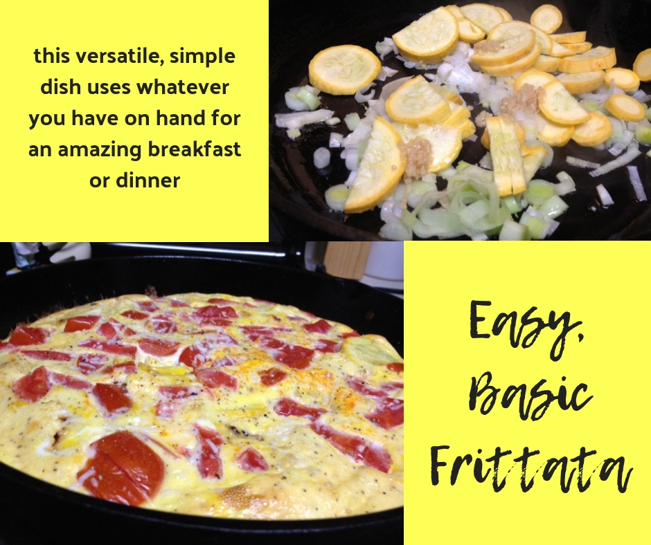 Basic Easy Frittata Recipe | this easy frittata makes an amazing dinner or breakfast, delicious leftovers for work, and you can use lots of different vegetables. This recipe uses tomatoes, squash, & scallions. #frittata #eggrecipes #recipe #brunch #breakfast #eggcasserole #tomatoes #squash