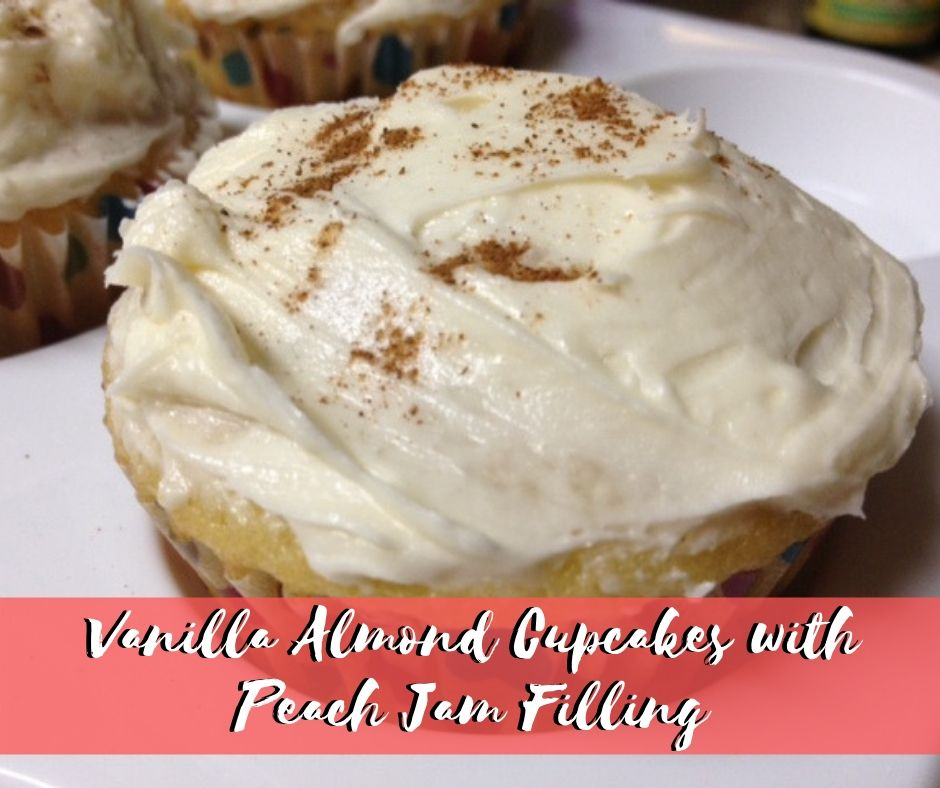 vanilla almond cupcakes with peach jam filling - Pinterest overlay