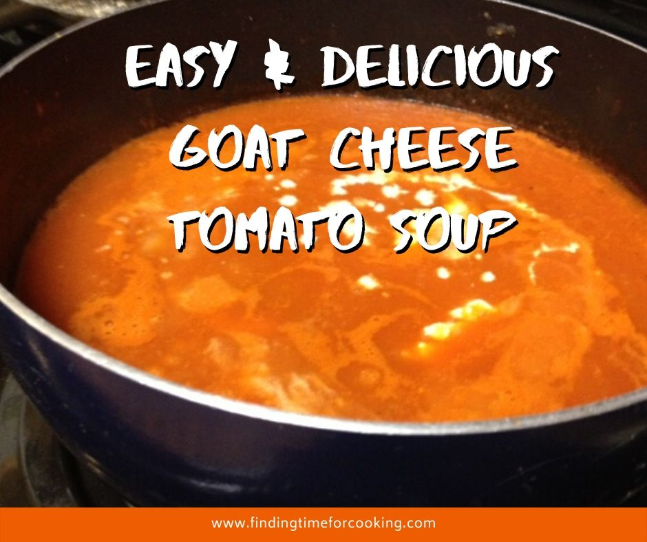 Easy & Delicious Goat Cheese Tomato Soup | A warm, comforting soup that's super easy to make for weeknight dinners, and makes great leftovers. #souprecipes #goatcheese #tomatosoup