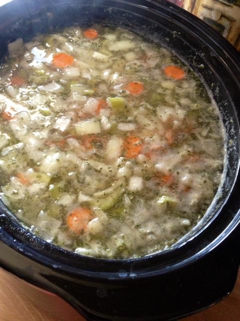 crockpot baked potato soup cooking
