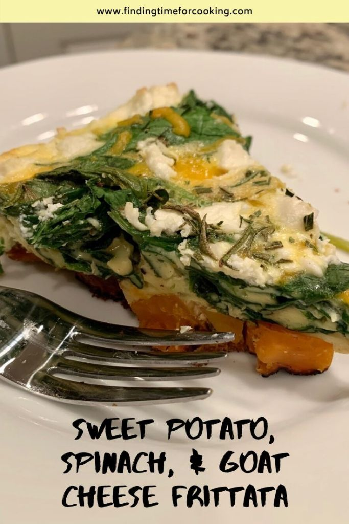Easy Goat Cheese, Spinach, & Sweet Potato Frittata | This delicious egg casserole is perfect for brunch or a nice vegetarian dinner. It's hearty, healthy, and super yummy! #meatlessmonday #breakfast #frittata