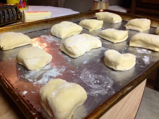 buttermilk rolls dough cut laid out