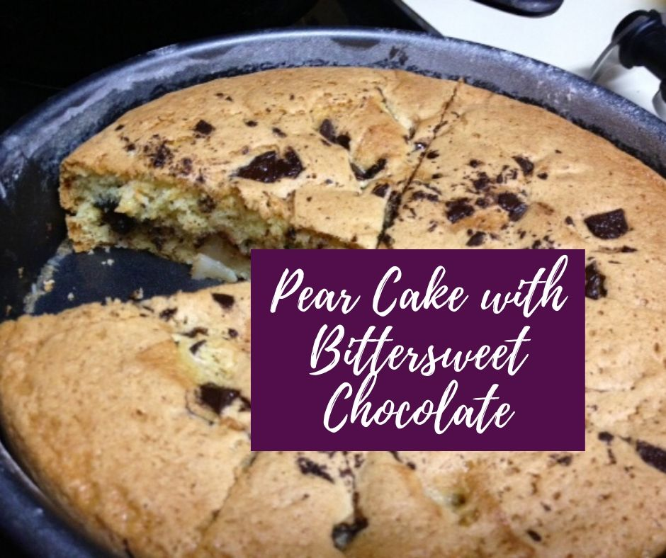 Delicious Bittersweet Chocolate & Pear Cake | This delightful recipe from my fave Smitten Kitchen turned out even better than I imagined! It's not too sweet, perfect for breakfast or a snack. #pearcake #chocolate #snackcake