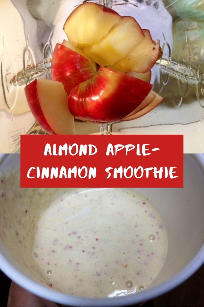 Almond Apple-Cinnamon Smoothie | This yummy and easy smoothie is a great healthy breakfast option.  #vegetarian #smoothie #breakfast