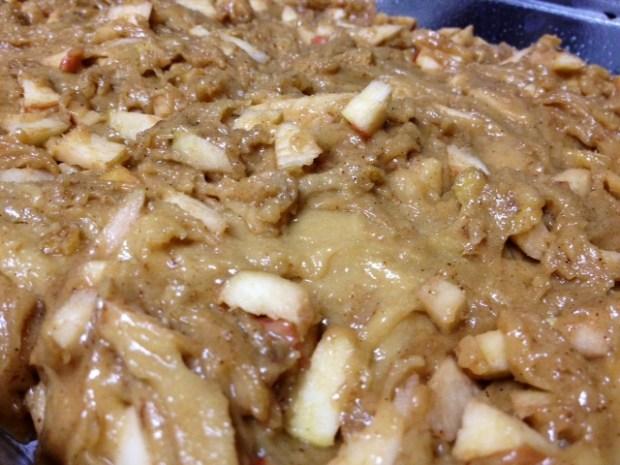 honey apple cake batter in pan
