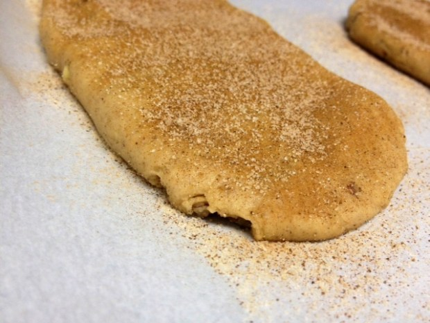 snickerdoodle biscotti dough logs