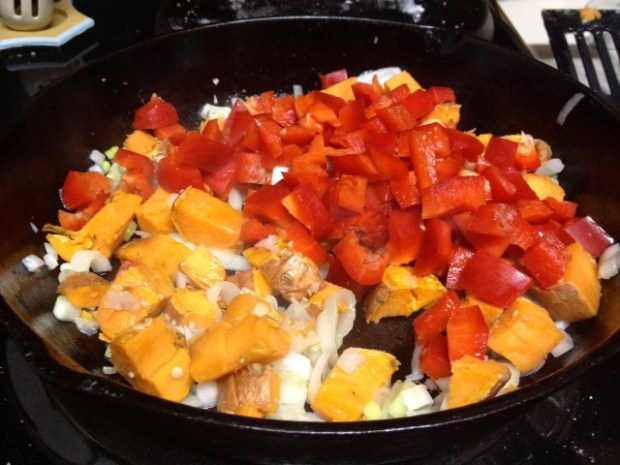 sweet potato red pepper frittata cookin