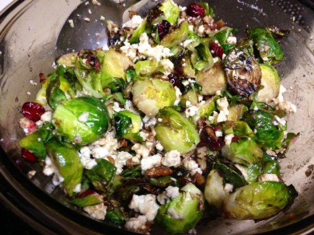 brussel sprouts cranberries assembled