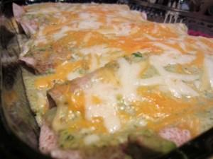 chicken avocado enchiladas finished closeup