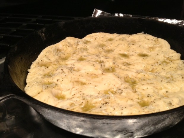 one hour skillet focaccia dimples butter