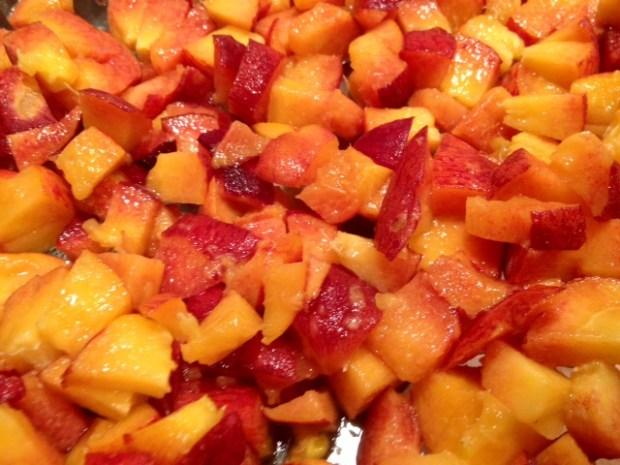 peach cardamom crisp peaches chopped closeup