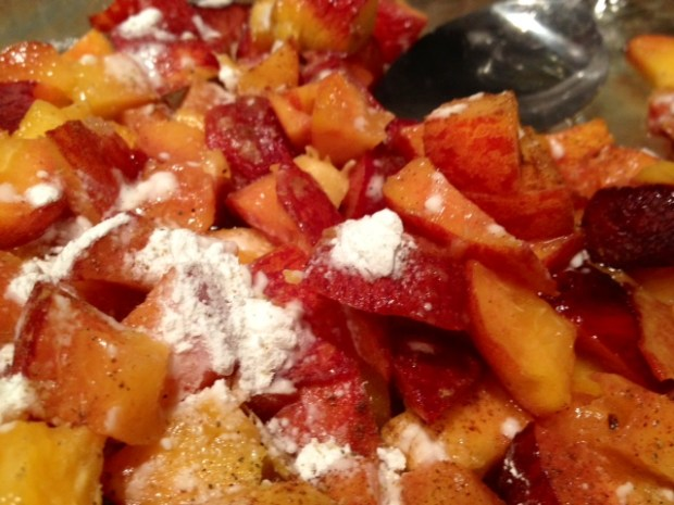 peach cardamom crisp spices cornstarch