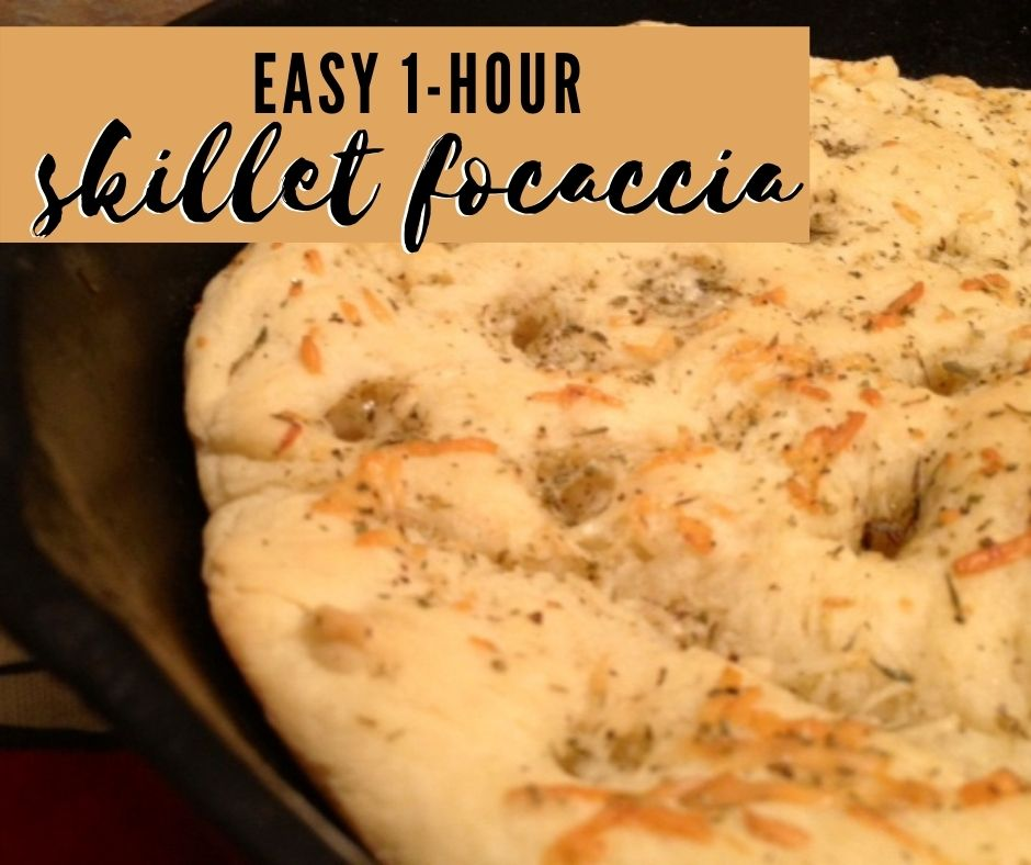 Easy 1-Hour Skillet Focaccia Bread | This quick focaccia recipe is perfect for any dinner, including a fast weeknight meal! It's super easy and super delicious. Packed with flavor, this is an easy bread recipe, a fast bread for weeknight dinner. #bread #focaccia #quickbread