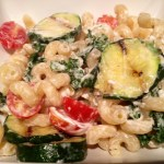 Cavatappi with Goat Cheese, Tomatoes, Kale, & Grilled Zucchini