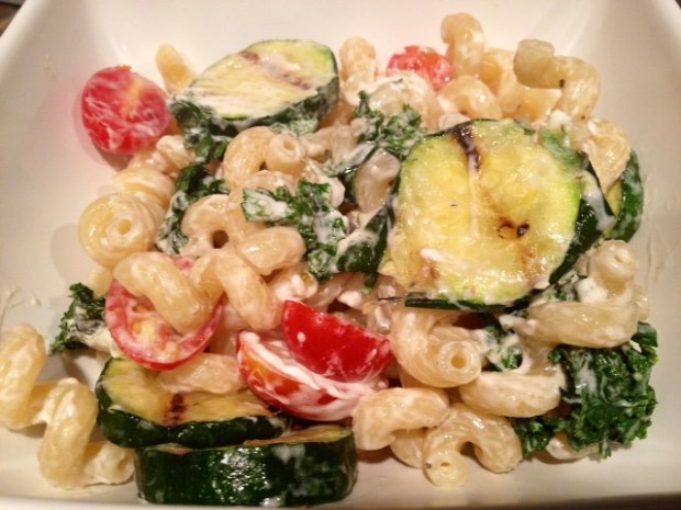 cavatappi goat cheese zucchini finished