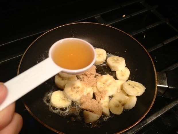 banana bourbon pancakes caramelizing bourbon
