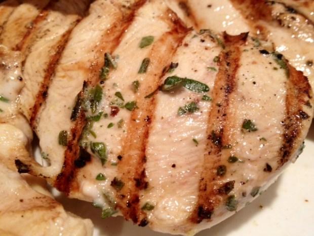 fresh herb grilled chicken closeup