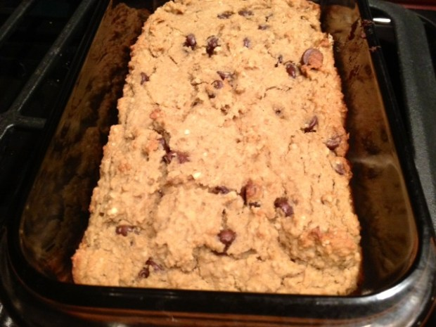healthy deep-dish chocolate chip cookie pie baked