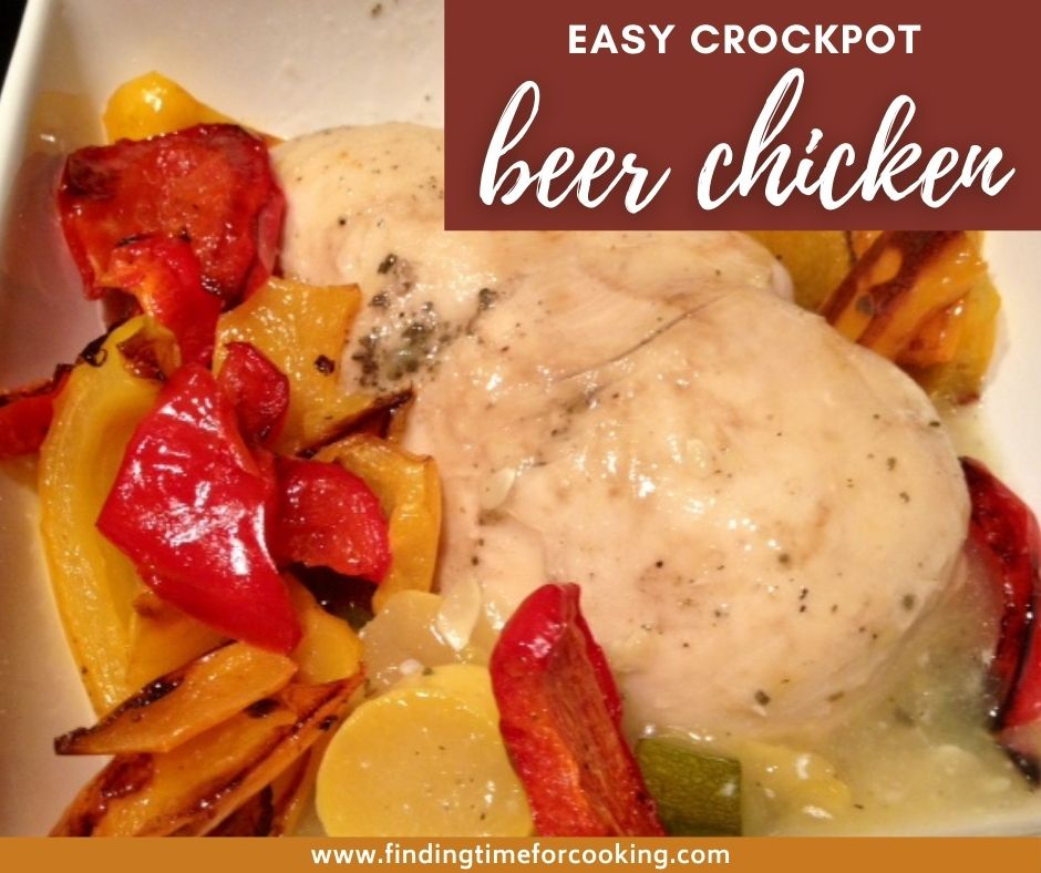 Crockpot Beer Chicken | This super easy slow cooker recipe is perfect for any night of the week, simple and healthy dinner recipe. Just a few ingredients necessary, and a great crockpot recipe. #chicken #crockpot #slowcooker #beerchicken