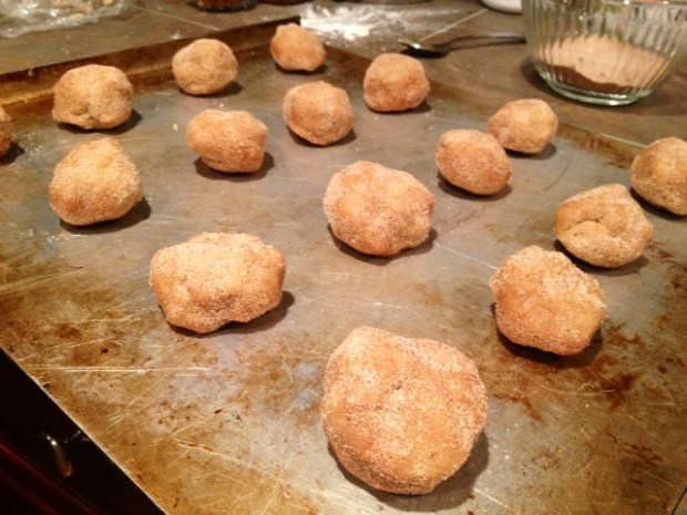 brown butter snickerdoodles dough rolled out
