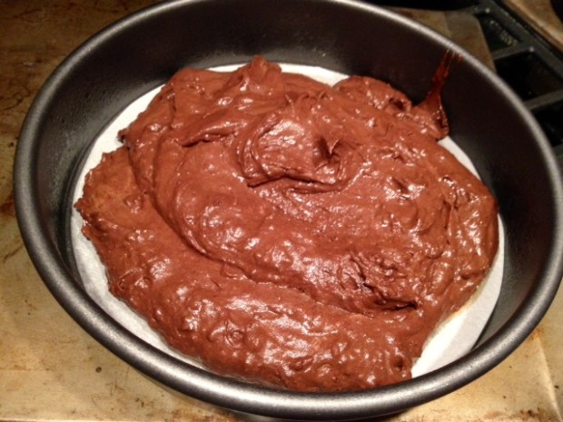 red wine chocolate cake batter pan