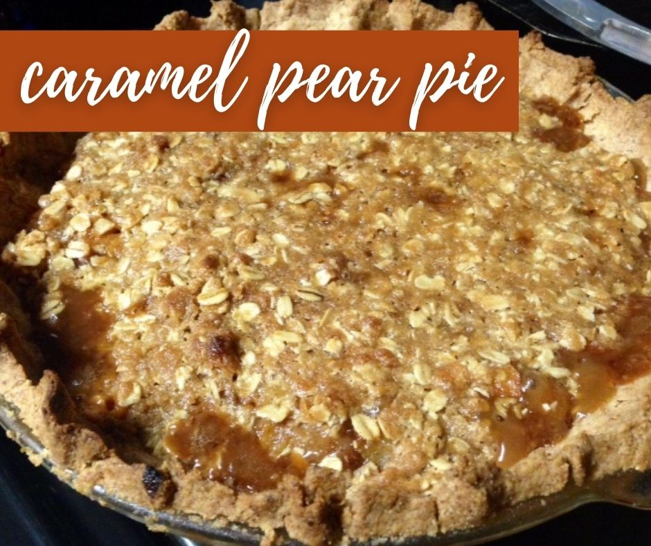 Amazing Caramel Pear Pie | Whether for a holiday meal or any ol' night, this delicious and easy pie is exactly what you need!  I've made this as a Thanksgiving dessert and everyone loved it.  What to do with too many pears, pear recipe ideas. #pears #pie #caramel #thanksgiving