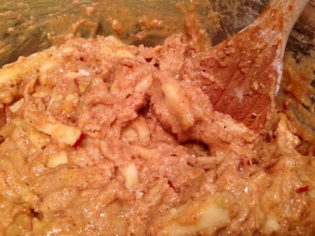 caramel glazed apple bread batter closeup