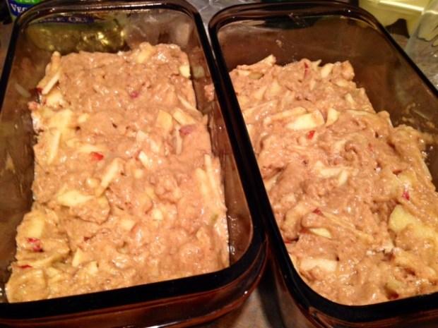 caramel glazed apple bread batter pans