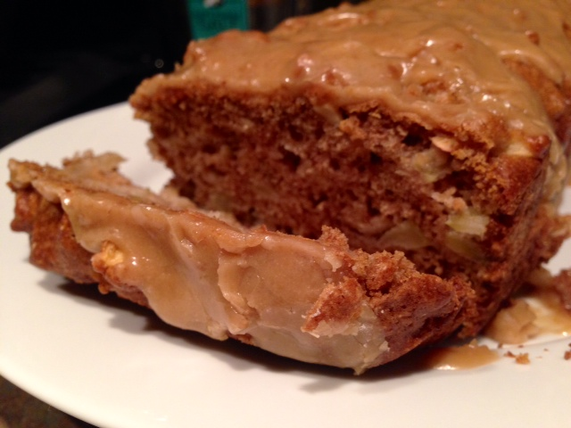 Caramel-Glazed Apple Bread | This delicious caramel apple bread is perfect for fall, a wonderful blend of apples, cinnamon, and a burnt-caramel glaze...whether for dessert or an indulgent breakfast, this quick bread will win you over! #caramel #applebread #dessertrecipes