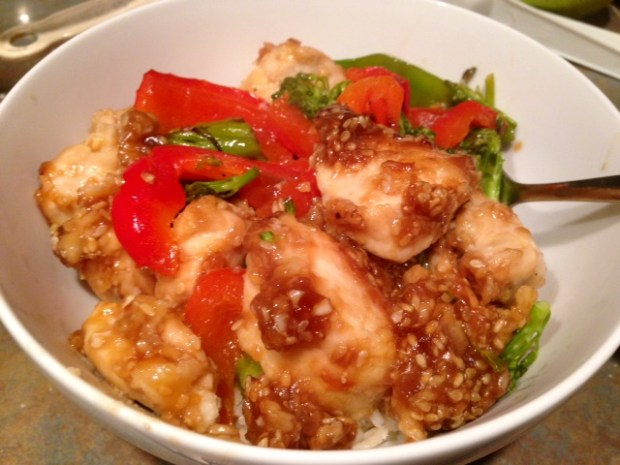 Easy Sesame Chicken with Veggies bowl