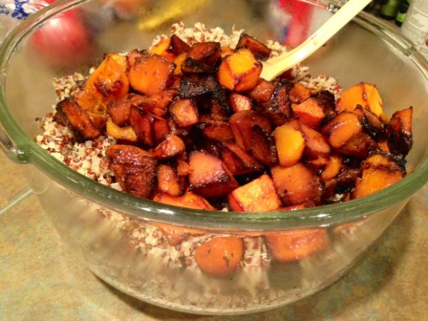 Quinoa Salad with Butternut Squash & Citrus Honey Dressing assembled