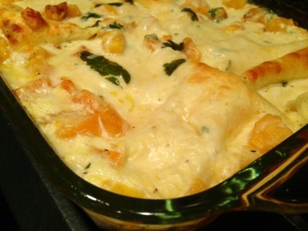 Butternut Squash & Sage Lasagna baked