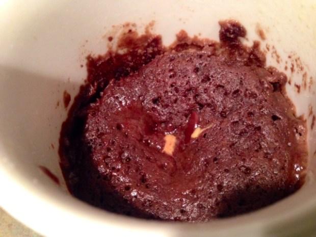 Double Chocolate Peanut Butter Mug Cake finished