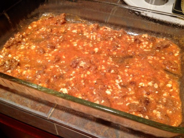 mom's lasagna filling first layer