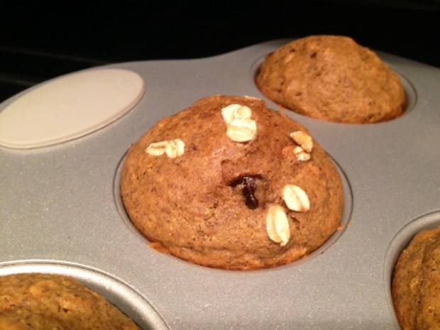 Oatmeal Flaxseed Chocolate Chip Muffins baked