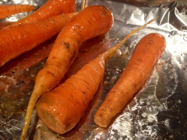 roasted carrots with smoked salt & thyme prepped