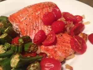 Roasted Salmon with Shallots & Tomatoes finished