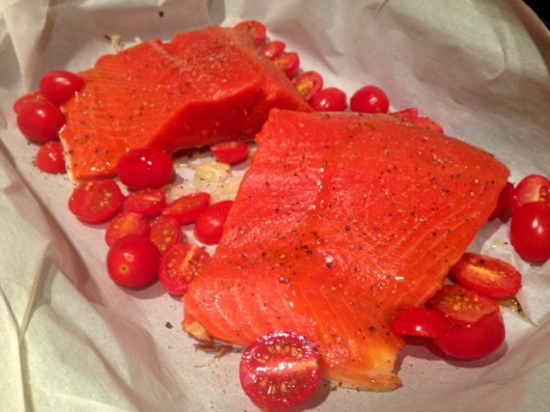 roasted salmon with shallots & tomatoes salmon