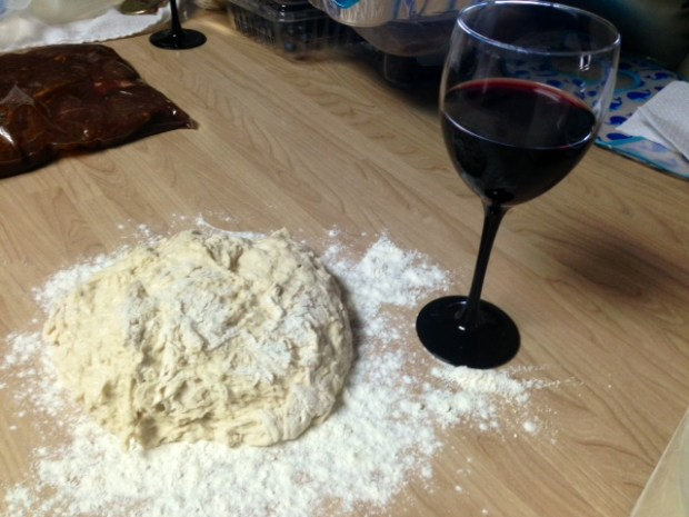 30-minute crusty baguette dough wine