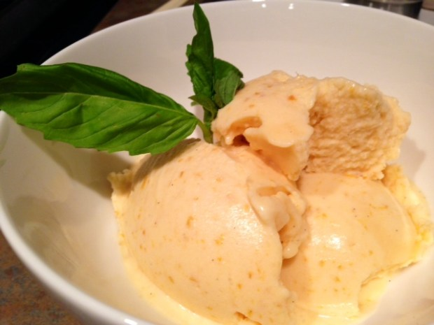 Roasted Apricot Ice Cream wiht Coconut Milk