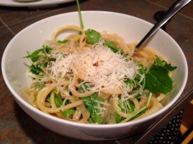 French Onion Pasta with Arugula & Parmesan