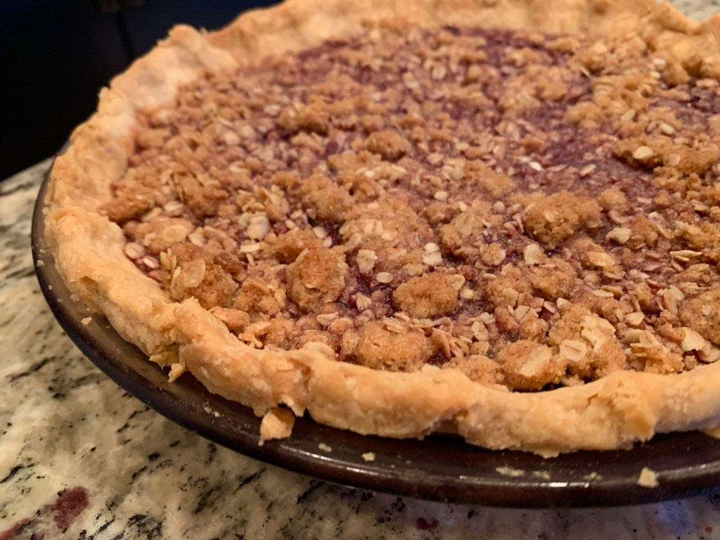 Easy Bing Cherry Pie with Streusel Topping | An easy dark sweet cherry pie recipe that's as great for everyday as it is for a holiday gathering! #pie #cherries #holidayrecipes