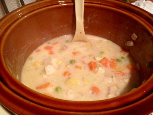 chicken pot pie with drop biscuit crust thickening