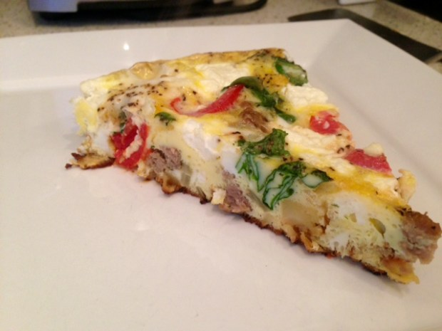 Frittata with Caramelized Onions, Parsnips, & Goat Cheese done