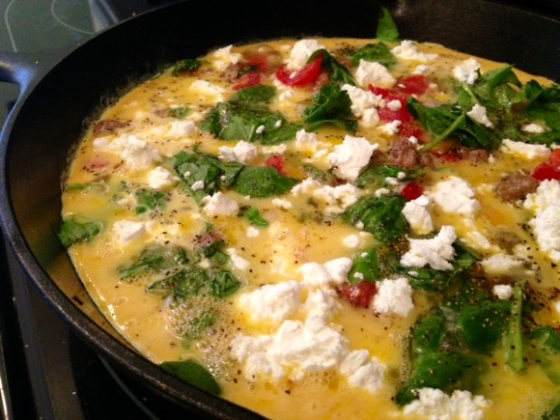 frittata with turkey sausage parsnips & goat cheese cheese seasoning
