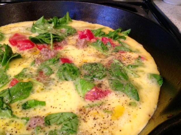 frittata with turkey sausage parsnips & goat cheese eggs