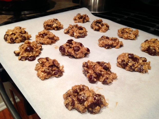 maple peanut butter oatmeal chocolate chip cookie ready to bake