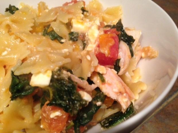 Pasta with Spinach, Tomato, & Feta closeup